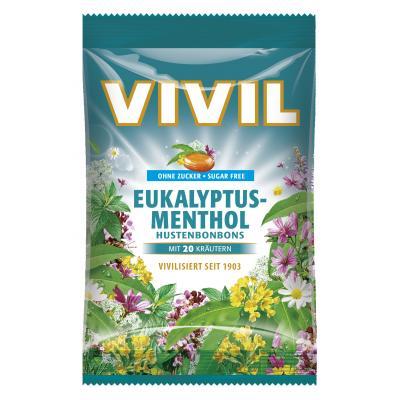 Bomboane Vivil Eucalipt si mentol fara zahar 60g